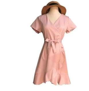 Price Reduced - Simple Tone Ruffle Wrap Dress Brand New