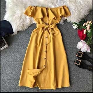 Price Reduced - Elegant Off Shoulder Long Dress (Free Size) CNY SPECIAL