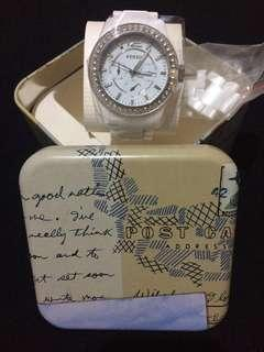 Authentic Fossil Watch White Ceramic for Women