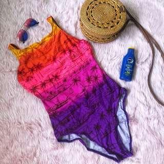 Ombre Orange Pink Violet one piece swimsuit