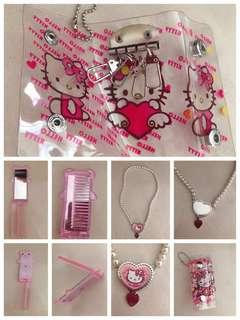 🚚 Hello kitty necklace, comb with mirror, key chain