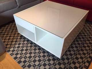IKEA White Coffee Table + Glass Top