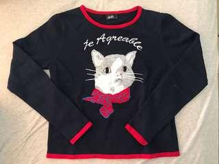Dotti Cat Embroidered knit top