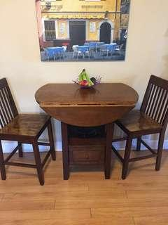 Solid wood high top table