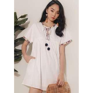 BNWOT EMBROIDERY POM POM DRESS IN WHITE