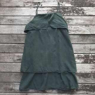 TEM olive green anika layered dress the Editors market