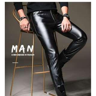 Korean Men Fashion 34'' Leather Pants