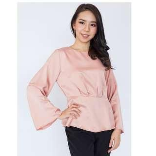Long Sleeve Cinched Blouse
