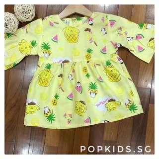 🍍1-8yo Yellow Pompompurin Pineapple Dress