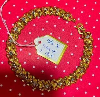 916 Gold Adult Bracelet 18.5cm