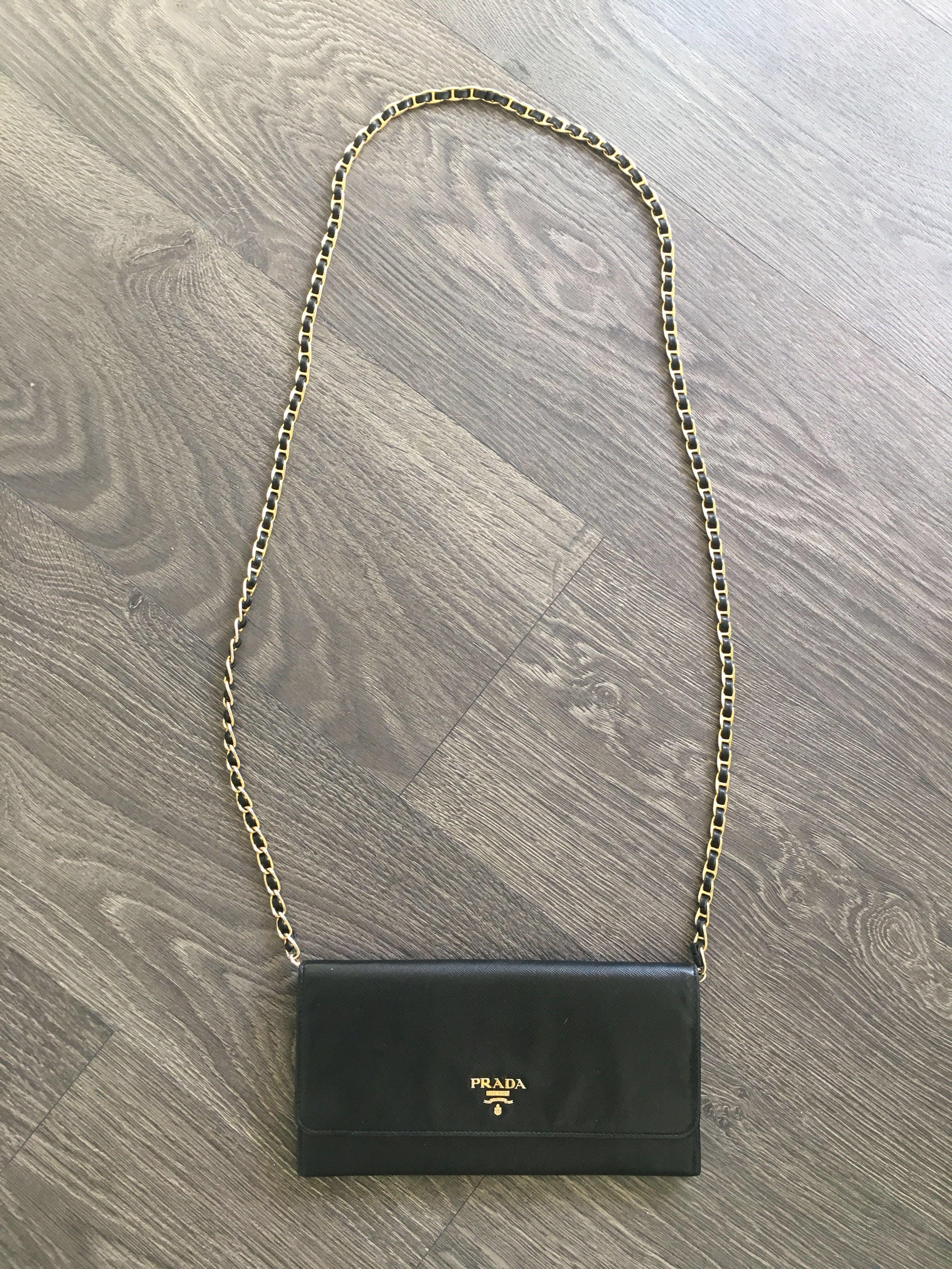 100% Authentic Prada Saffiano Wallet on Chain in Black