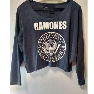 Ramones Grey Crop Top Long Sleeves
