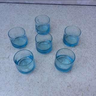 Set of 6pcs Wide Mouth Blue Glasses