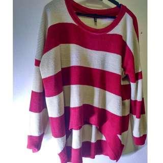 Stripe Baggy Red Khaki Long Sleeve Top