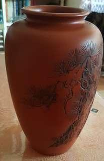 日本朱紅瓷花瓶