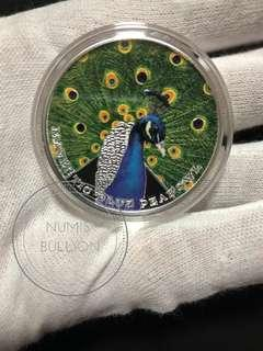 Majestic Blue Peafowl Peacock 1 oz Silver Coin