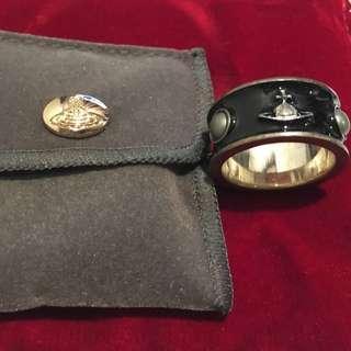 Vivienne Westwood Black-Enamel 925 Silver Ring