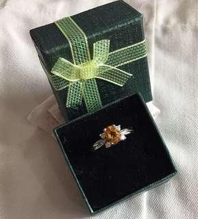 Silver Ring with Citrine Gem stone