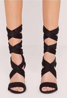 Black lace up heels/sandals