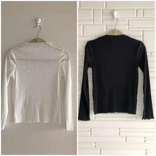GU sheer mock turtleneck Long sleeve tops size M