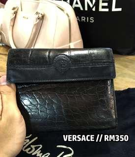 Original Vintage Gianni Versace Black Leather Purse
