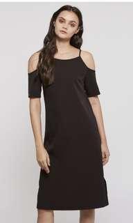 🚚 Anatalia cold shoulder midi dress in black