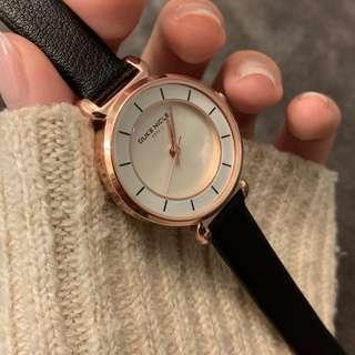 韓國小清新細錶帶 白錶面氣質皮革錶 現貨