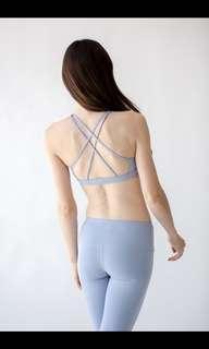 Montiel 淡藍色交叉美背運動內衣