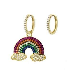 Gold rainbow zirconia APM earrings (APM style)