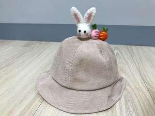 米色寶寶兒童立體兔子漁夫帽
