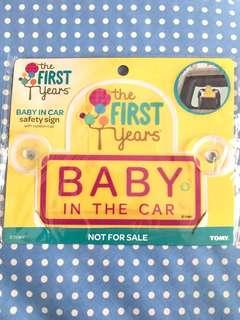 Baby in car safety sign