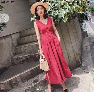 Red Cotton & Linen 2 way wear Maxi Dress