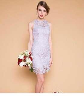 Lilac Grey Full Crochet Dress