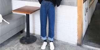 🚚 深藍色反摺直筒褲