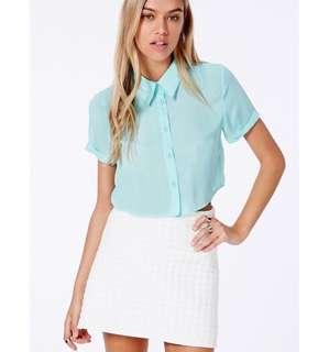 BNWT-Misguided mint collared crop shirt