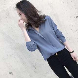 韓 藍紫色氣質簡約雪紡V領襯衫