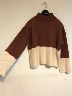 高領雙色寬袖毛衣 M~L號
