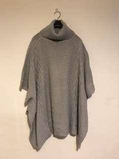 高領 針織斗篷 長毛衣 衣長約92公分 只穿過一次 free size