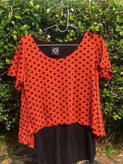 O2 Orange Polka Dot Top