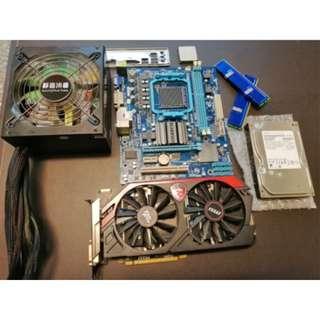 主機板+CPU+記憶體+電源+硬碟+顯卡