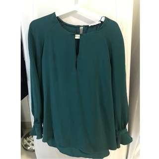 Mango Suit Blouse Green Tops