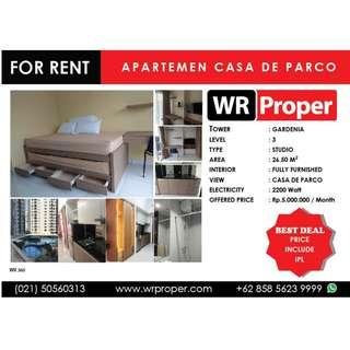 FOR RENT : CASA DE PARCO APARTMENT - STUDIO - GARDENIA TOWER