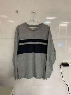 H&M 厚長T/灰色/條紋