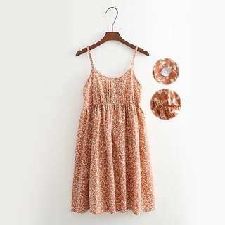 全新 橘色細肩碎花洋裝
