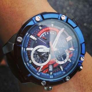 Edifice efr559 chrono blue tone leather strap