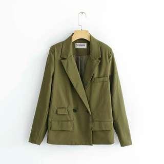 西裝外套 軍綠 墨綠 韓版修身雙排釦