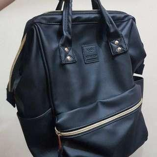 Anello Black Leather Backpack (regular size)