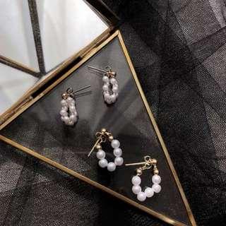 韓版 小巧精緻 珍珠 耳釘 時尚百搭 前後扣 編織 米珠耳環 甜美少女耳墜 pearl earrings