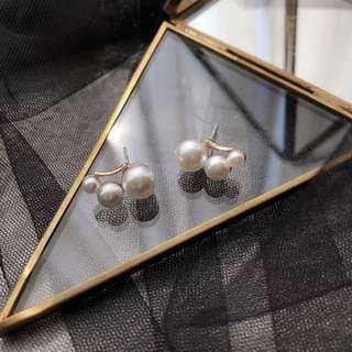 韓版 時尚三顆珍珠耳釘S925銀針氣質百搭淑女甜美日常學生耳飾耳環 pearl earrings