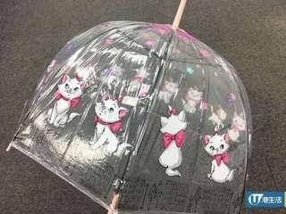 Disney Marie 瑪利貓 透明雨遮 雨傘
